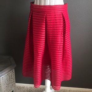 Esley Red Skirt, textured, A-line pattern